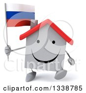 Clipart Of A 3d Happy White House Character Holding A Russian Flag And Walking Royalty Free Illustration