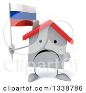 Clipart Of A 3d Unhappy White House Character Holding And Pointing To A Russian Flag Royalty Free Illustration