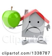 Clipart Of A 3d Unhappy White House Character Giving A Thumb Down And Holding A Green Apple Royalty Free Illustration by Julos