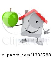 Clipart Of A 3d Happy White House Character Shrugging And Holding A Green Apple Royalty Free Illustration