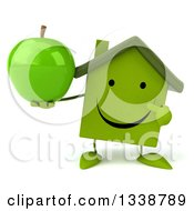 Clipart Of A 3d Happy Green House Character Holding And Pointing To A Green Apple Royalty Free Illustration