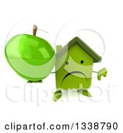 Clipart Of A 3d Unhappy Green House Character Holding Up A Thumb Down And A Green Apple Royalty Free Illustration