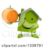 Clipart Of A 3d Happy Green House Character Holding And Pointing To A Navel Orange Royalty Free Illustration