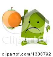 Clipart Of A 3d Unhappy Green House Character Holding A Thumb Down And A Navel Orange Royalty Free Illustration