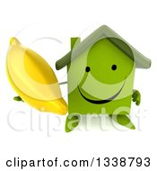 Clipart Of A 3d Happy Green House Character Holding Up A Banana Royalty Free Illustration