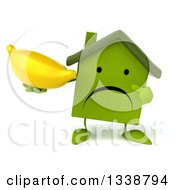 Clipart Of A 3d Unhappy Green House Character Holding And Pointing To A Banana Royalty Free Illustration
