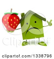 Clipart Of A 3d Unhappy Green House Character Holding Up A Finger And A Strawberry Royalty Free Illustration