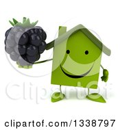Clipart Of A 3d Happy Green House Character Holding A Blackberry Royalty Free Illustration
