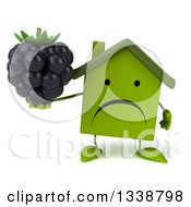 Clipart Of A 3d Unhappy Green House Character Holding A Blackberry Royalty Free Illustration