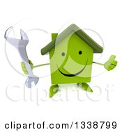 Clipart Of A 3d Happy Green House Character Holding Up A Thumb And A Wrench Royalty Free Illustration