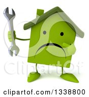 Clipart Of A 3d Unhappy Green House Character Holding And Pointing To A Wrench Royalty Free Illustration