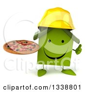 Clipart Of A 3d Happy Green House Contractor Character Holding A Pizza And Giving A Thumb Up Royalty Free Illustration