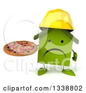 Clipart Of A 3d Unhappy Green House Contractor Character Holding A Pizza Royalty Free Illustration