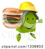 Clipart Of A 3d Happy Green House Contractor Character Holding A Double Cheeseburger Facing Right And Jumping Royalty Free Illustration