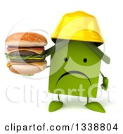 Clipart Of A 3d Unhappy Green House Contractor Character Holding A Double Cheeseburger Royalty Free Illustration