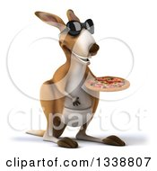 Clipart Of A 3d Kangaroo Wearing Sunglasses And Holding A Pizza Facing Slightly Right Royalty Free Illustration