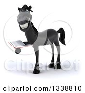 Clipart Of A 3d Black Horse Facing Left Smiling And Reading A Book Royalty Free Illustration by Julos