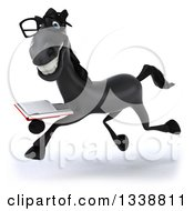 Clipart Of A 3d Bespectacled Black Horse Running To The Left Smiling And Holding A Book Royalty Free Illustration by Julos