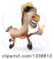 Clipart Of A 3d Brown Cowboy Horse Wearing Shades Running And Drinking Tea Royalty Free Illustration