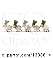 Clipart Of A 3d Line Of Happy Irish Sheep Walking To The Left Royalty Free Illustration