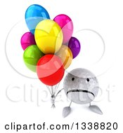 Clipart Of A 3d Unhappy Golf Ball Character Holding Up Party Balloons Royalty Free Illustration