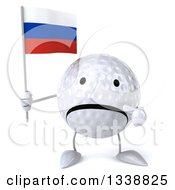 Clipart Of A 3d Unhappy Golf Ball Character Holding And Pointing To A Russian Flag Royalty Free Illustration