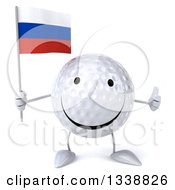 Clipart Of A 3d Happy Golf Ball Character Holding A Russian Flag And Giving A Thumb Up Royalty Free Illustration