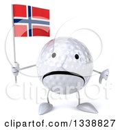 Clipart Of A 3d Unhappy Golf Ball Character Holding A Norwegian Flag And Giving A Thumb Down Royalty Free Illustration