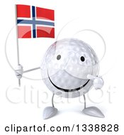 Clipart Of A 3d Happy Golf Ball Character Holding And Pointing To A Norwegian Flag Royalty Free Illustration