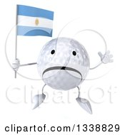 Clipart Of A 3d Unhappy Golf Ball Character Holding An Argentine Flag And Jumping Royalty Free Illustration