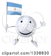 Clipart Of A 3d Happy Golf Ball Character Holding An Argentine Flag And Jumping Royalty Free Illustration