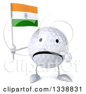 Clipart Of A 3d Unhappy Golf Ball Character Holding And Pointing To An Indian Flag Royalty Free Illustration