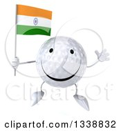 Clipart Of A 3d Happy Golf Ball Character Holding An Indian Flag And Jumping Royalty Free Illustration