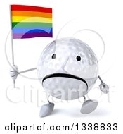 Clipart Of A 3d Unhappy Golf Ball Character Holding A Rainbow Flag And Walking Royalty Free Illustration
