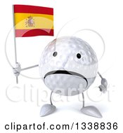 Clipart Of A 3d Unhappy Golf Ball Character Holding A Spanish Flag Royalty Free Illustration