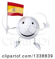Clipart Of A 3d Happy Golf Ball Character Holding A Spanish Flag And Jumping Royalty Free Illustration