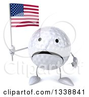 Clipart Of A 3d Unhappy Golf Ball Character Holding An American Flag Royalty Free Illustration