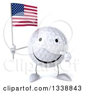 Clipart Of A 3d Happy Golf Ball Character Holding And Pointing To An American Flag Royalty Free Illustration