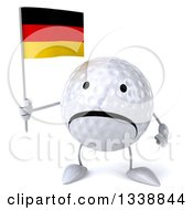Clipart Of A 3d Unhappy Golf Ball Character Holding A German Flag Royalty Free Illustration