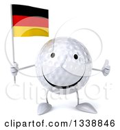 Clipart Of A 3d Happy Golf Ball Character Holding A German Flag And Giving A Thumb Up Royalty Free Illustration