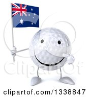 Clipart Of A 3d Happy Golf Ball Character Holding And Pointing To An Australian Flag Royalty Free Illustration