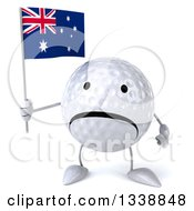 Clipart Of A 3d Unhappy Golf Ball Character Holding An Australian Flag Royalty Free Illustration