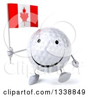 Clipart Of A 3d Happy Golf Ball Character Holding A Canadian Flag And Walking Royalty Free Illustration