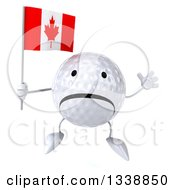 Clipart Of A 3d Unhappy Golf Ball Character Holding A Canadian Flag And Jumping Royalty Free Illustration