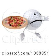 Clipart Of A 3d Unhappy Golf Ball Character Facing Slightly Right Jumping And Holding A Pizza Royalty Free Illustration