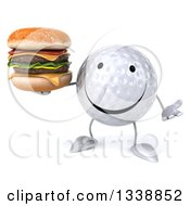 Clipart Of A 3d Happy Golf Ball Character Shrugging And Holding A Double Cheeseburger Royalty Free Illustration