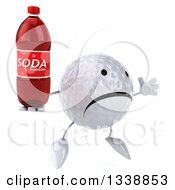 Clipart Of A 3d Unhappy Golf Ball Character Facing Slightly Right Jumping And Holding A Soda Bottle Royalty Free Illustration