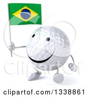 Clipart Of A 3d Happy Golf Ball Character Holding A Brazilian Flag And Walking Slightly To The Left Royalty Free Illustration