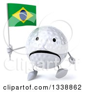 Clipart Of A 3d Unhappy Golf Ball Character Holding A Brazilian Flag And Walking Royalty Free Illustration