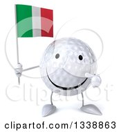 Clipart Of A 3d Happy Golf Ball Character Holding And Pointing To An Italian Flag Royalty Free Illustration